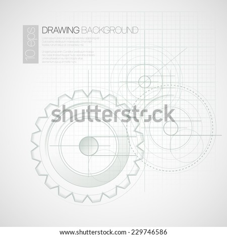Background with drawing gears. Vector illustration - stock vector