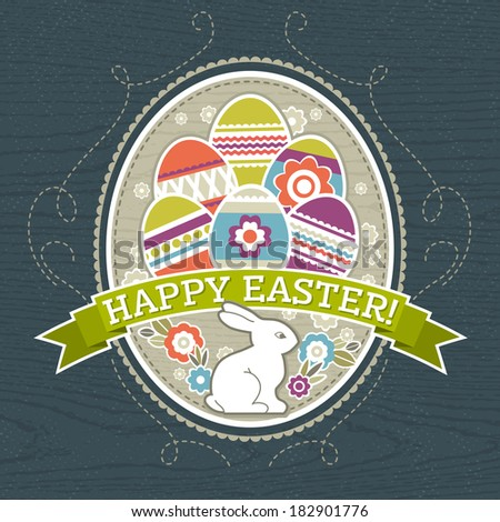 background with easter eggs and one rabbit, vector illustration - stock vector