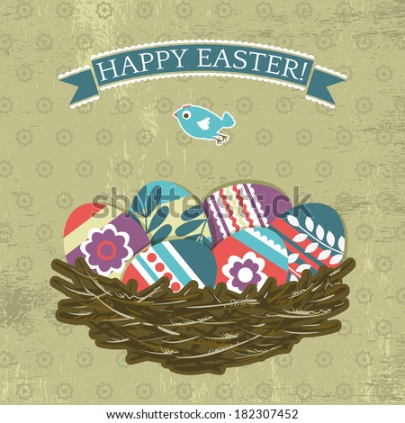 background with easter eggs on grunge background, vector - stock vector