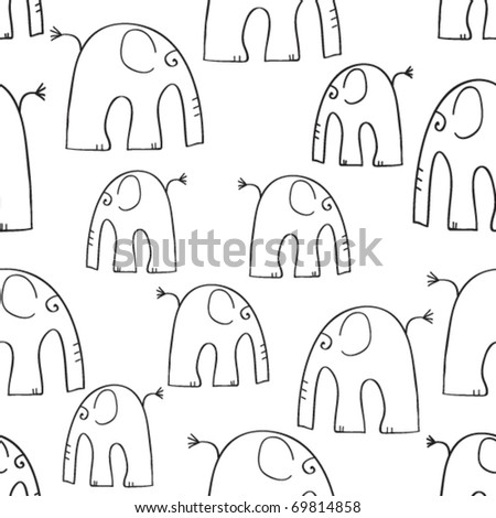 background with elephants - stock vector