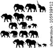 Background with elephants silhouettes - stock vector