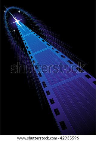 Background with film strips cooming from stars - stock vector