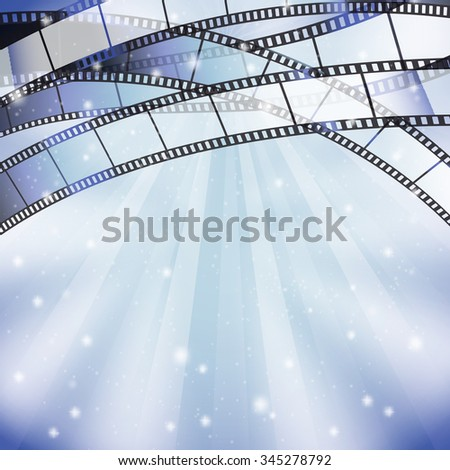 background with filmstrip and stars, stripes, lights on top border - stock vector