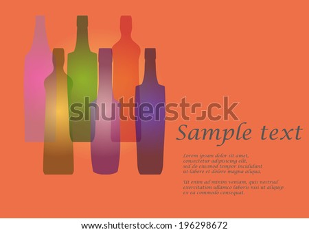 Background with five bottles on orange background