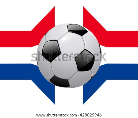 Background with flag of France and soccer ball, 3D vector illustration. - stock vector