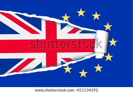Background with flag of the UK and ripped flag of EU. Brexit concept. Vector. - stock vector