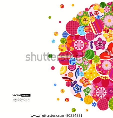 Background with floral and ornamental circles. - stock vector