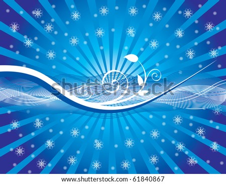 Background with floral ornament and snowflakes, vector