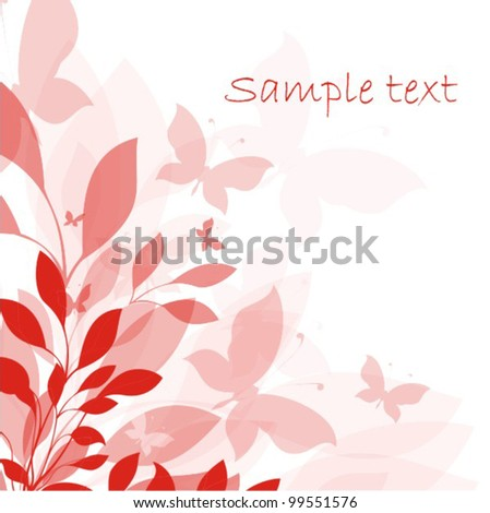 Background with flowers and butterfly - stock vector