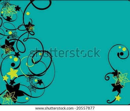Background with flowers and curves