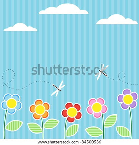 Background with flowers and flying dragonflies - stock vector