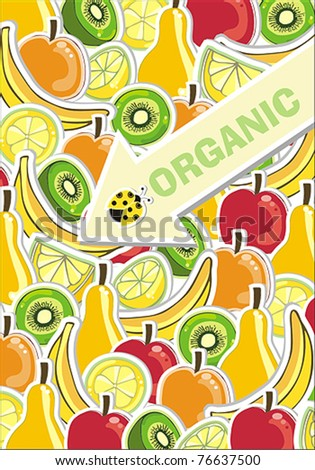 background with fresh fruit - stock vector