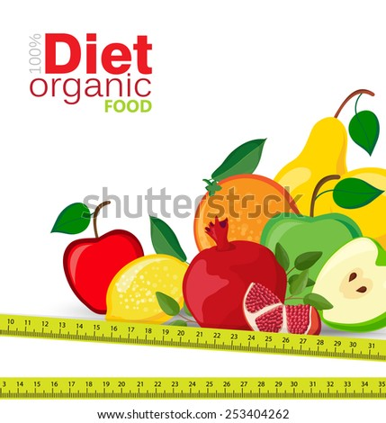 Background with fresh fruit, diet - stock vector