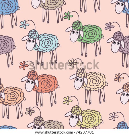 Background with funny sheep - stock vector