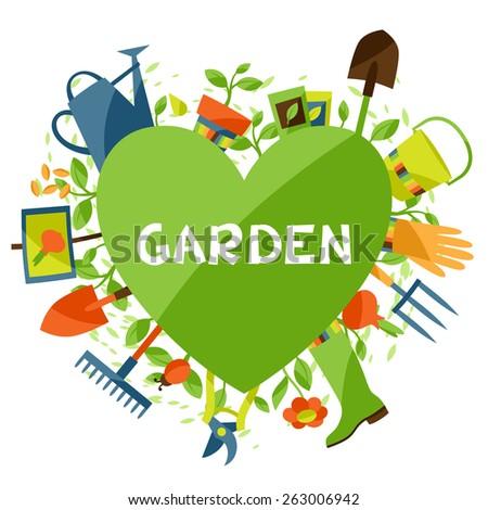 Garden Design Elements background garden design elements icons stock vector 263006942