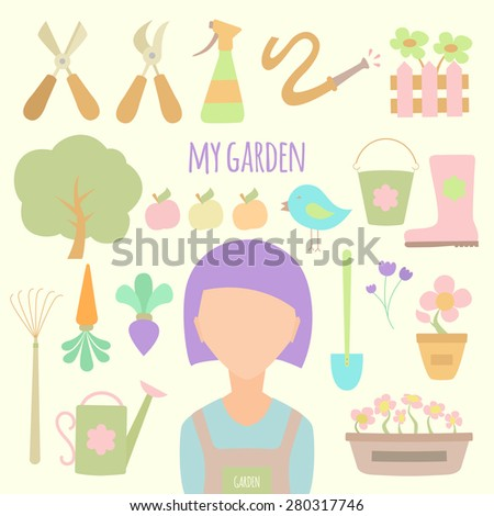 Background with gardening design elements and woman character - stock vector