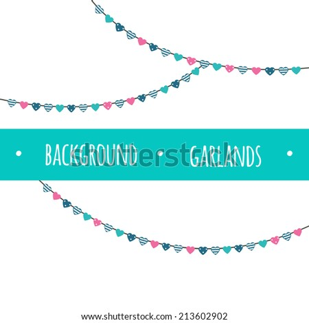 Background with garlands. For scrapbooking, cardmaking, collages etc.