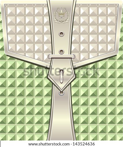 Background with geometric seamless pattern and belt fastener