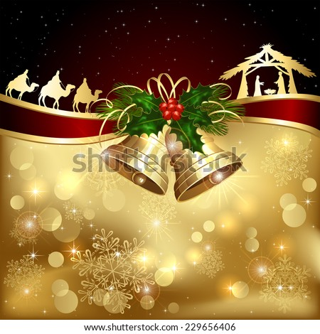Background with golden Christmas bells, holly berry and Christian scene, illustration. - stock vector