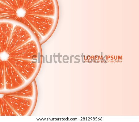 Background with grapefruit slices. High quality vector. EPS10 vector