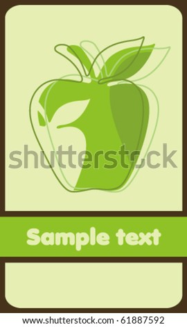 Background with green apple - stock vector