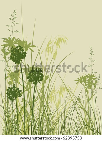 background with green grass and flowers - stock vector