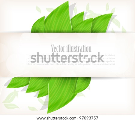 Background with green leaves and white poster - stock vector