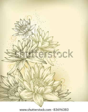 Background with hand drawn water lilies - stock vector