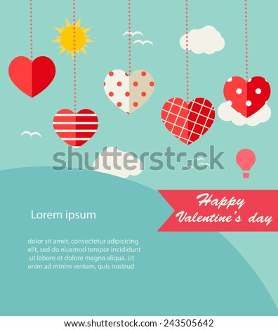 Background with hanging hearts and landscape, vector illustration - stock vector