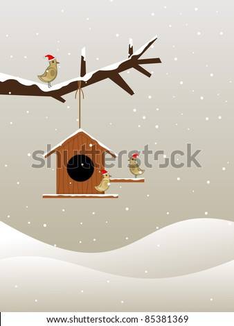 background with hanging wooden house on dry tree branch and bird sitting on other side - stock vector