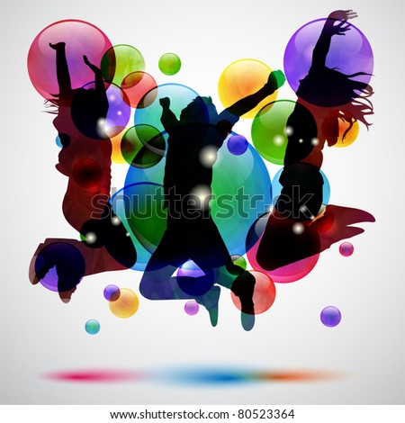 Background with happy people jumping and bubbles - stock vector