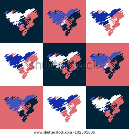 background with hearts pink blue white vector