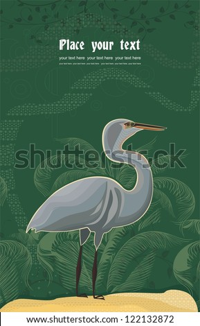 background with heron and plant pattern
