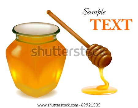 Background with honey and wood stick. Vector illustration. - stock vector