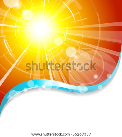 Background with hot summer sun and place for your text - stock vector