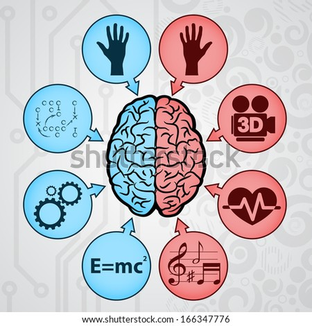 Background with human brain and signs. eps10 - stock vector