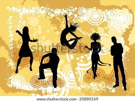 Background with human silouettes - stock vector