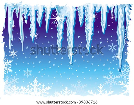 background with icicle - stock vector