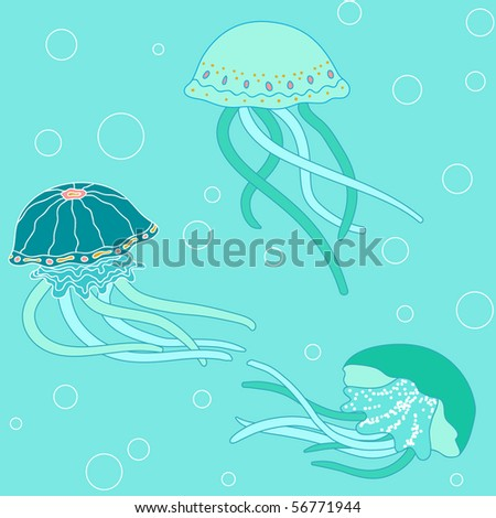 Background with jellyfish, vector pattern, sea colors - stock vector