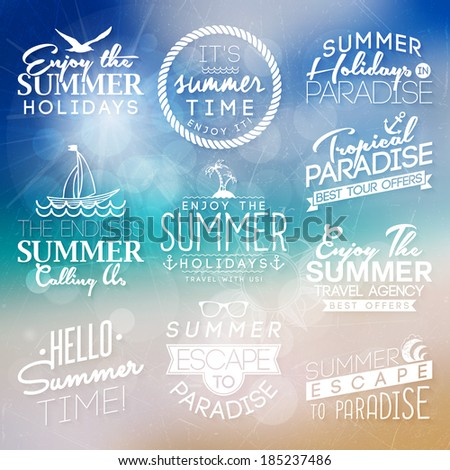 Background with labels for summer design.  - stock vector