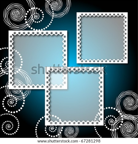 Background with lacy, elegant photo frame - stock vector