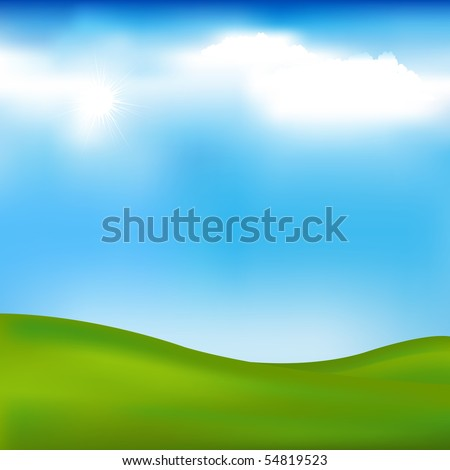 Background With Landscape - Hills, Blue Sky And Clouds, Vector Illustration - stock vector