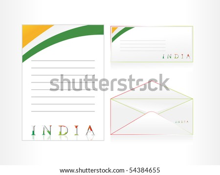 background with letterhead, envelop, postcard - stock vector