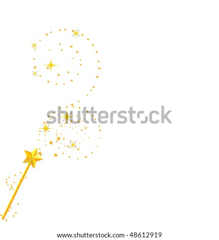 background with magic wand image - stock vector