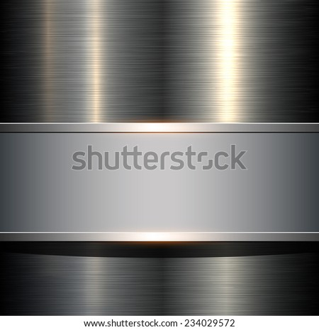 Background with metallic plate texture, polished metal , vector illustration. - stock vector