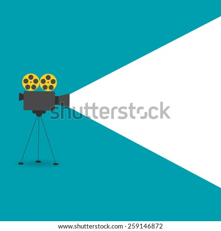 Background with movie projector, vector illustration - stock vector