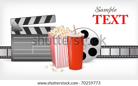 Background with movie time. Vector illustration. - stock vector