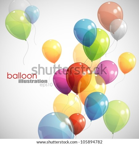 background with multicolored balloons - stock vector