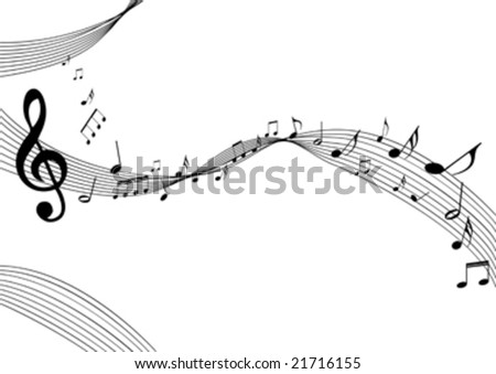 background with music notes on white