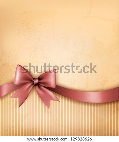 Background with old_paper with gift bow and ribbon.  Vector - stock vector